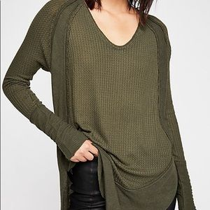 Green free people raw hem tee